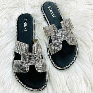 Black rhinestoned sandal
